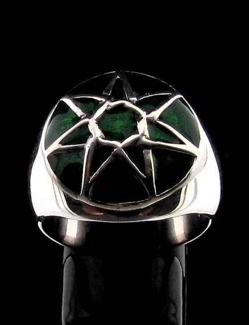 Sterling silver Wicca ring Fairy Elven Star Heptagram on Green enamel dome high polished 925 silver