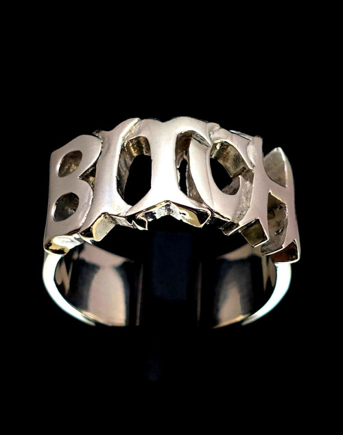 Sterling silver ring Bitch one word letter ring high polished 925 silver
