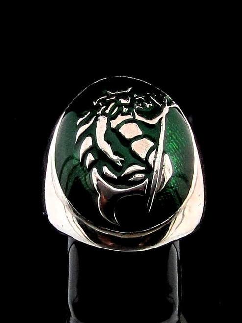 Sterling silver Zodiac ring Aquarius Star sign Neptune with Green enamel high polished 925 silver
