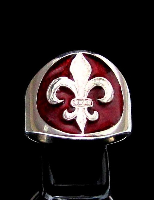 Sterling silver Fleur de Lis ring French Lily Flower on Red enamel medieval France high polished 925 silver