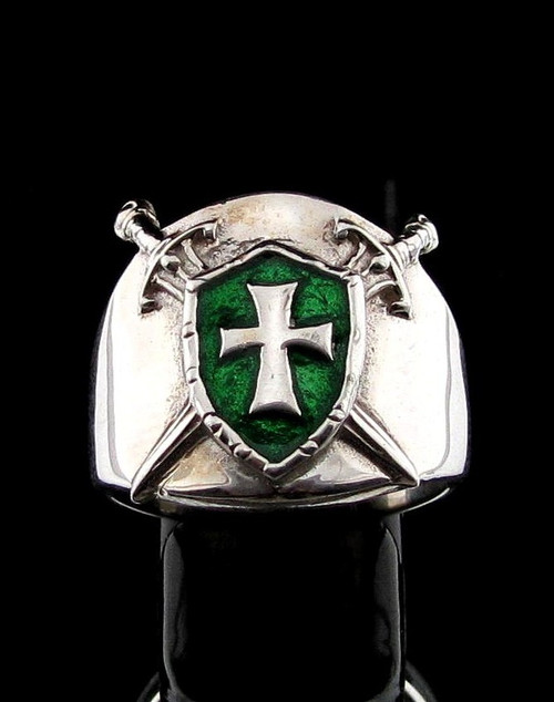 Sterling silver ring Knights Templar Cross on Shield and Crossed Swords with Green enamel high polished 925 silver