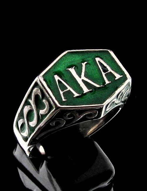 Sterling silver ring AKA Also Known As pseudonym with Green enamel high polished 925 silver