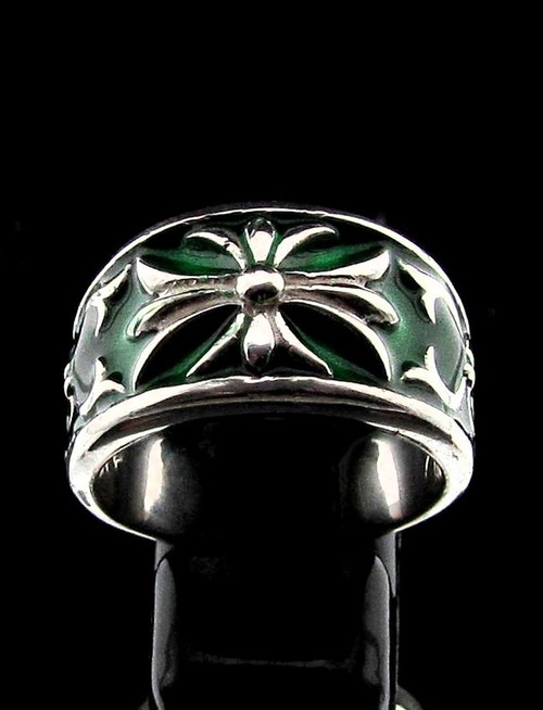 Sterling silver Fleur de Lis ring France Medieval French Lily Flower with Green enamel high polished 925 silver unisex band ring