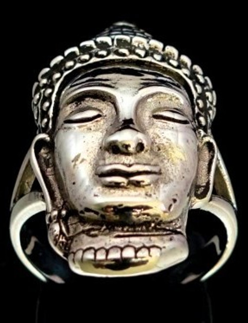 Sterling silver ring ancient Buddha Khmer style Angkor Wat high polished and antiqued 925 silver