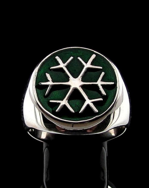 Sterling silver Symbol ring Snowflake Winter Sport Games with Green enamel high polished 925 silver