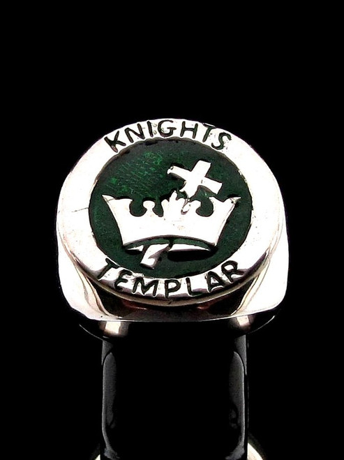 Sterling silver ring Knights Templar Cross and Crown Crusader coat of arms with Green enamel high polished 925 silver men's ring