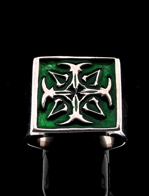 Sterling silver Assassin symbol ring Cross with Green enamel high polished 925 silver