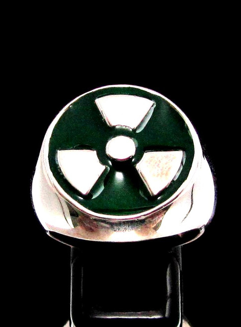 Sterling silver ring Trefoil Radioactive Warning symbol Nuclear Danger with Green enamel high polished 925 silver