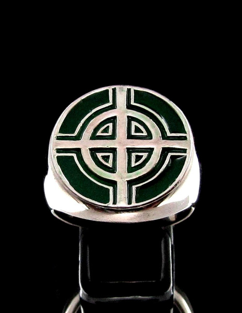 Sterling silver ancient symbol ring Celtic Ringed Cross medieval Ireland with Green enamel high polished 925 silver
