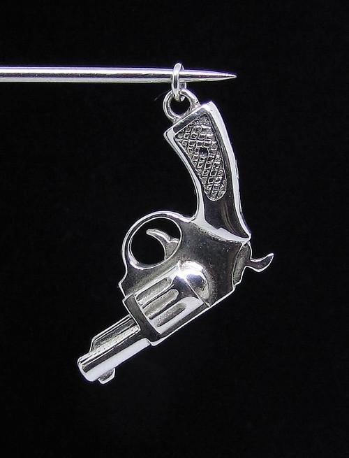 Sterling silver pendant Hand Gun Revolver high polished 925 silver
