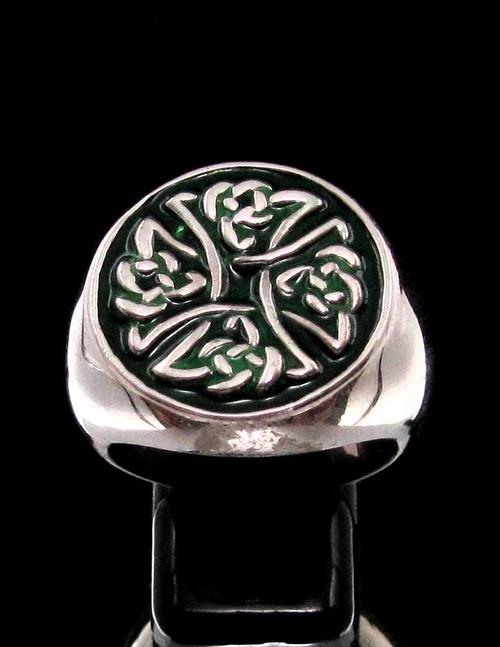 Sterling silver ancient symbol ring Birgit's Cross Celtic knot on Green enamel high polished 925 silver