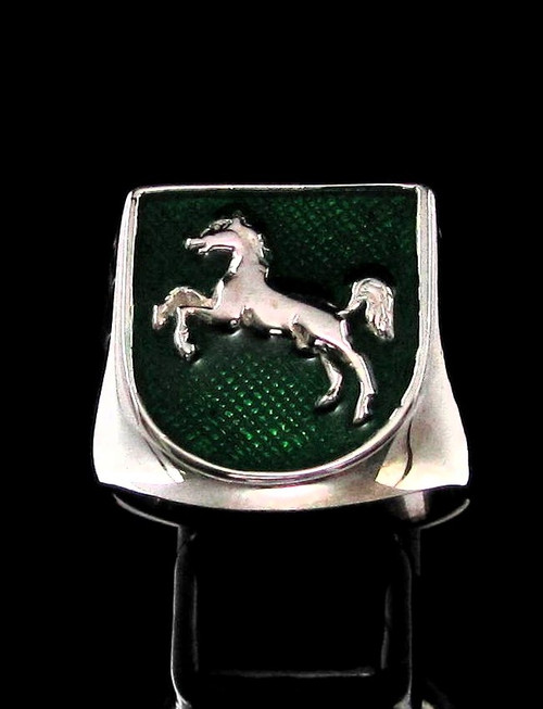 Sterling silver ring Horse on Green enamel shield Jumping Sport high polished 925 silver
