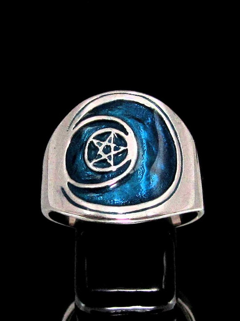 Sterling silver Symbol ring Sun and Moon Pentagram Star with Blue enamel high polished 925 silver