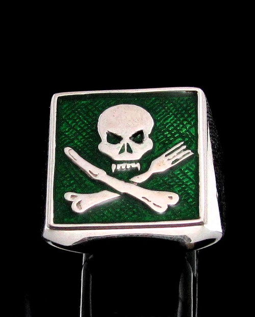 Sterling silver ring Skull on Crossed Knife and Fork with Green enamel high polished 925 silver men's ring
