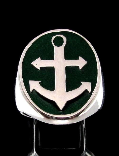 Sterling silver men's Sailor ring Big Anchor Navy symbol on Green enamel high polished 925 silver