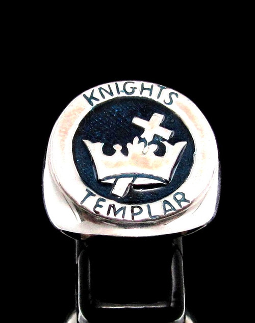 Sterling silver ring Knights Templar Cross and Crown Crusader coat of arms with Blue enamel high polished 925 silver men's ring