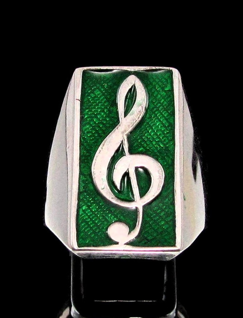 Sterling silver Music symbol ring Clef note on Green enamel high polished 925 silver men's ring