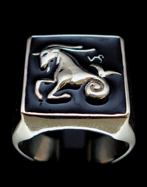 Sterling silver Zodiac ring Capricorn with black enamel 925 silver mens ring