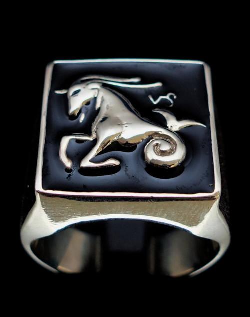 Sterling silver Zodiac ring Capricorn with black enamel 925 silver men's ring