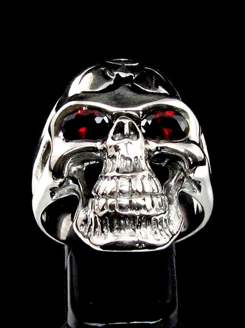 Sterling silver ring Bio Hazard Grinning Skull with 2 Red CZ Eyes Toxic Waste Warning in Black enamel high polished 925 silver