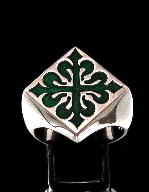 Sterling silver Medieval symbol ring Fleur de Lys French Lily Flower France with Green enamel high polished 925 silver