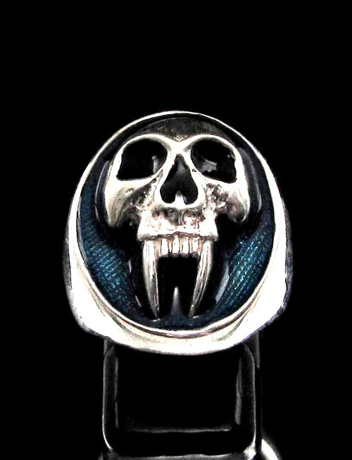 Sterling silver men's ring Big Fang Vampire Skull with Blue enamel high polished 925 silver
