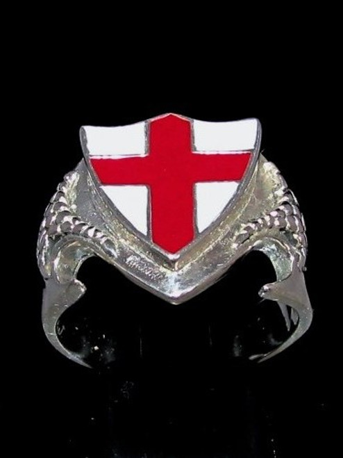 Sterling silver Flag ring English Cross on Medieval Dragon shield England red Cross on white enamel high polished 925 silver