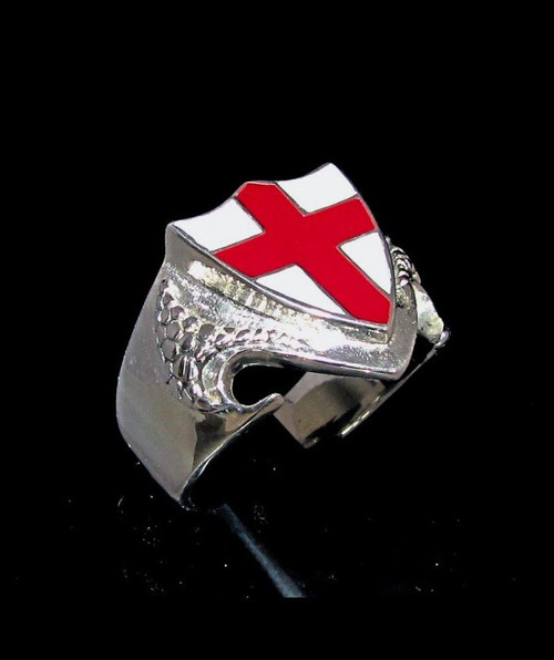 Sterling silver English Flag ring Red Cross on Dragon shield England