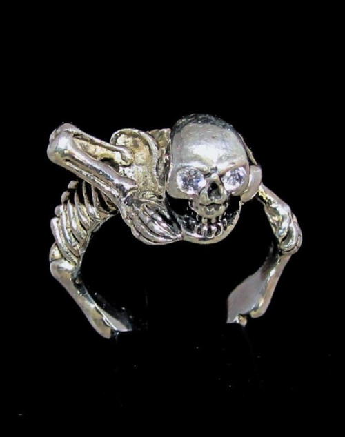 Sterling silver Skull ring 5 mini Skulls with 8 white sparkling CZ Eyes high polished