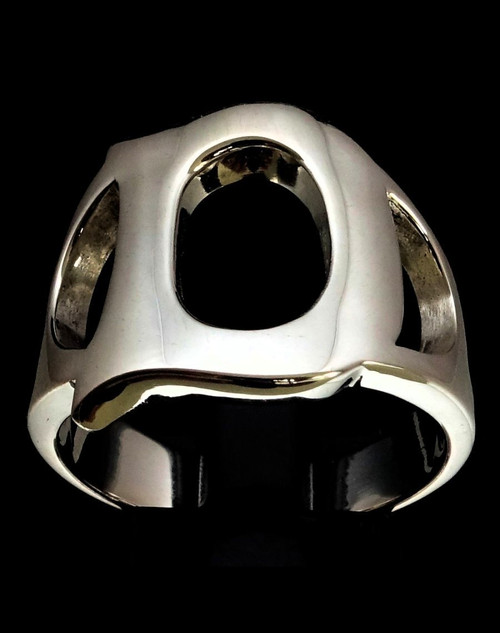 Sterling silver initial ring alphabet letter D high polished 925 silver