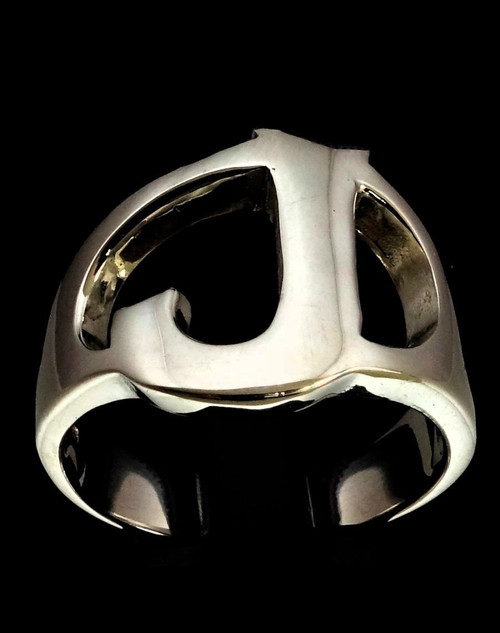 Sterling silver initial ring alphabet letter J high polished 925 silver