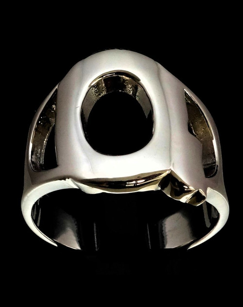 Sterling silver initial ring alphabet letter Q high polished 925 silver