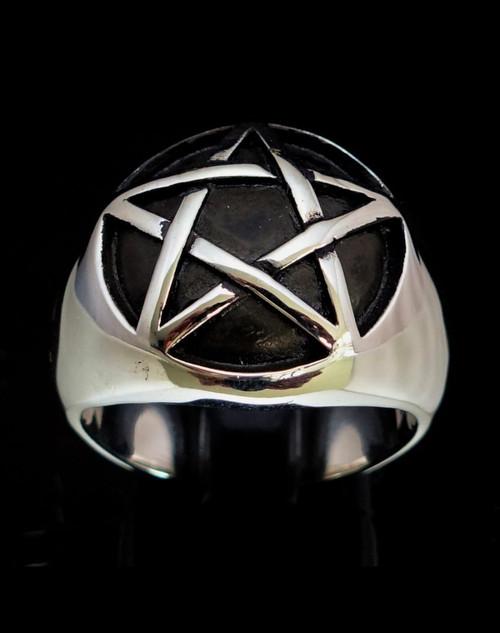 Dome shaped Sterling silver symbol ring Pentagram antiqued