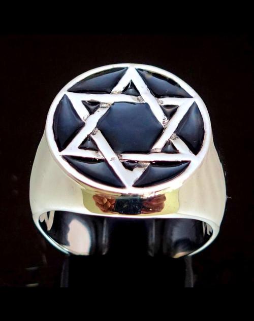 Sterling silver symbol ring Hexagram Hebrew Star of David with black enamel 925 silver