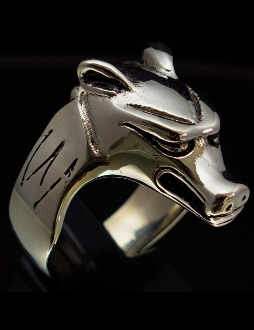 Sterling silver Animal ring Wolf ancient Egypt high polished and antiqued