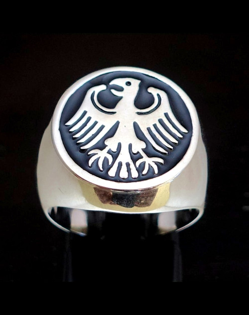 Sterling silver German Eagle Flag ring coat of arms Germany with black enamel high polished