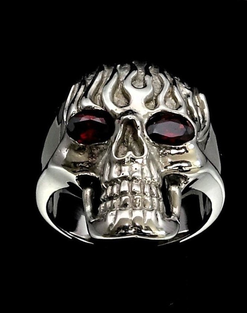 Sterling silver Biker ring Flaming Skull Ghost Rider with 2 Red CZ Eyes high polished 925 silver