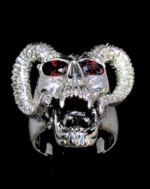 Sterling silver Biker ring Ram Horned Devil Skull with 2 Red CZ Eyes 925 silver