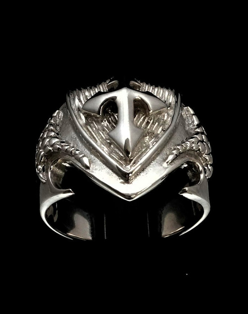 Sterling silver ring Medieval Crusader Cross on Dragon shield high polished 925 silver