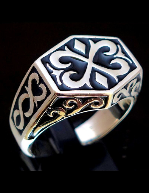 Sterling silver ring Medieval calligraphy letter X Cross with Black enamel high polished 925 silver