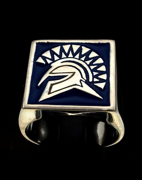 Sterling silver signet ring ancient Greek Warrior Athenian military blue enamel high polished 925 silver