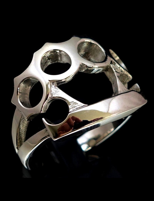 Sterling silver Knuckle duster ring street fighter high polished 925 silver