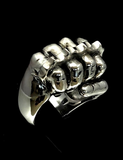 Heavy Sterling silver men's ring Fist with Knuckle Duster high polished 925 silver