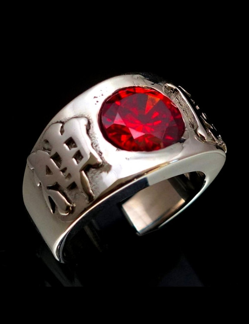 Sterling silver Japanese band ring Kamikaze Japan with Red CZ stone high polished 925 silver