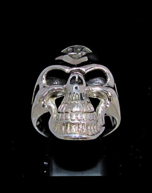 Sterling silver men's Biker ring 1% symbol on Grinning Skull high polished 925 silver
