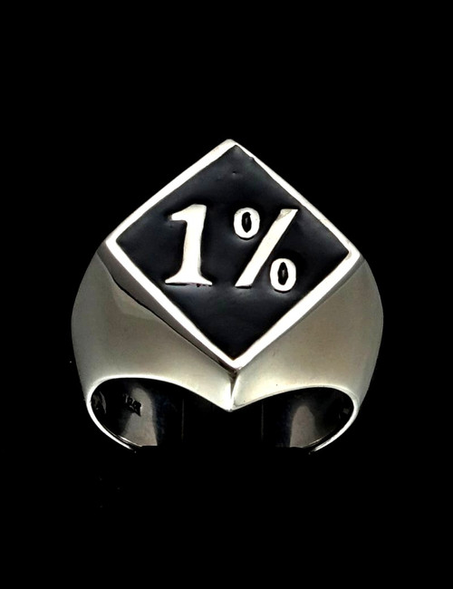 Sterling silver men's Biker ring 1% symbol diamond shape with black enamel 925 silver