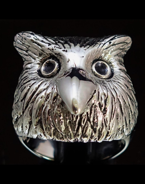 Sterling silver animal ring Owl head high polished and antiqued 925 silver