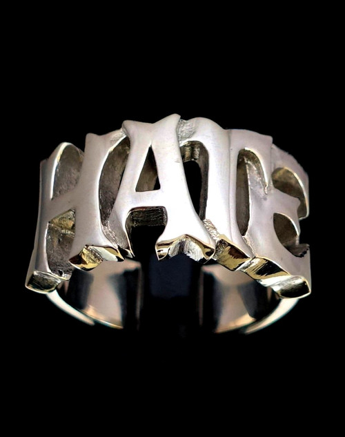 Sterling silver word ring Hate bold letters high polished 925 silver
