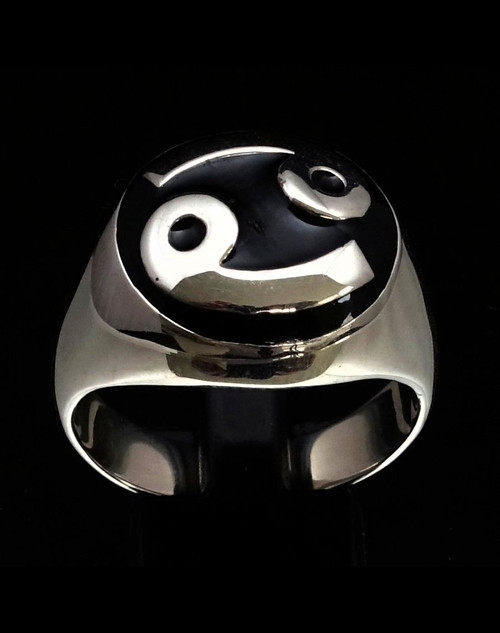 Dome shaped Silver Zodiac ring Cancer with Black enamel high polished 925 Sterling silver