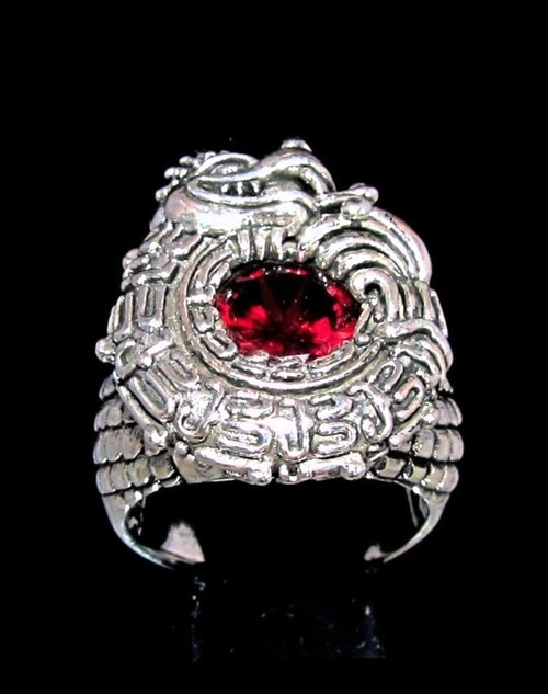Sterling silver ring Maya Dragon Quetzalqoatl with a Beautiful Fiery Red CZ high polished 925 silver